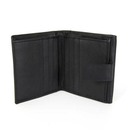 Usnjena moška denarnica 3517-črna odprta