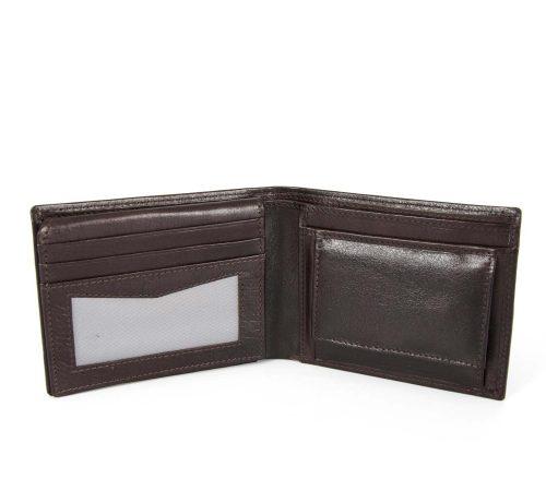 Velika usnjena denarnica Hamilton- rjava-odprta