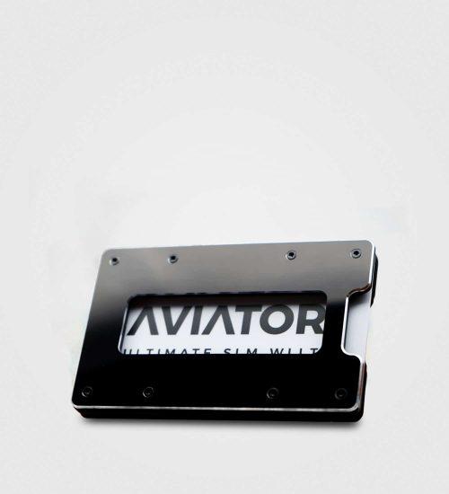 Aviator slim coin- črna metalik