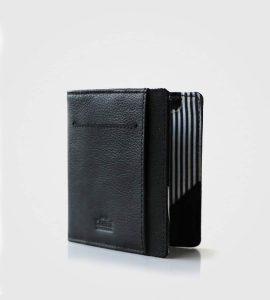 unikatna usnjena denarnica Wolyt Flip- črna